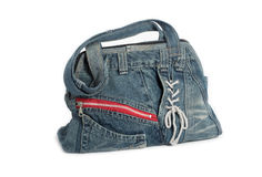 Blue jeans women bag isolated Stock Photo