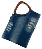 Blue jeans women bag at white background Royalty Free Stock Photo