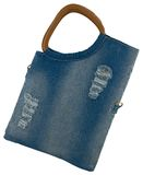 Blue jeans women bag at white background Royalty Free Stock Photos