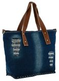 Blue jeans women bag at white background Stock Photography