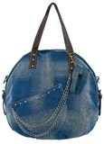 Blue jeans women bag at white background Stock Images