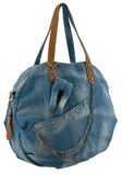 Blue jeans women bag at white background Royalty Free Stock Image
