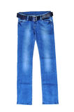 Blue jeans for women with dark blue belt. isolated on white Royalty Free Stock Images