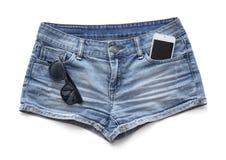 Blue jeans women's shorts. Stock Image