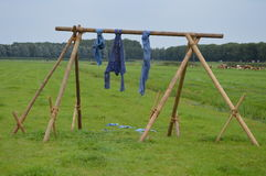 Blue jeans on wooden rack on farm Royalty Free Stock Images