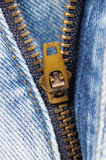 Blue jeans zipper Royalty Free Stock Photos
