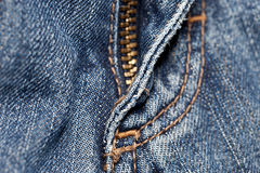 Blue Jeans with Zipper Stock Photo
