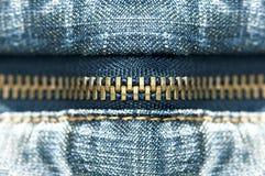 Blue jeans zipper Stock Photos