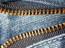 Blue jeans zipper Royalty Free Stock Image