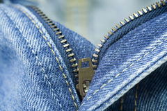Blue jeans zipper Royalty Free Stock Images