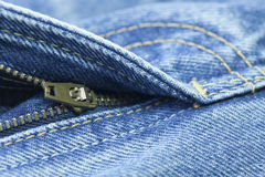 Blue jeans zipper Stock Photography