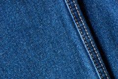 Blue Jeansdenim-Gewebebeschaffenheit mit Naht lizenzfreie abbildung