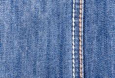 Blue Jeanshintergrund mit Naht Lizenzfreies Stockfoto