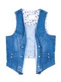 Blue Jeansweste getrennt Lizenzfreies Stockbild