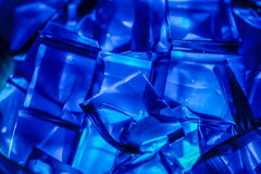 Blue Jell-O gelatin cubes lit from below. Stock Images