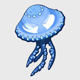 Blue jellyfish with eyes, alien character Royalty Free Stock Image