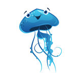 Blue jellyfish, sea creature. Colorful cartoon character i. Solated on a white background Royalty Free Stock Photography