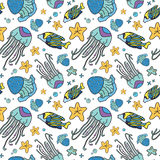 Blue jellyfish sea seamless vector pattern. On white field Stock Photos