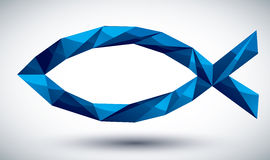 Blue Jesus geometric icon made in 3d modern style, best for use Stock Image