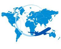 Blue jet airplane silhouette with map of the world behind Royalty Free Stock Photo
