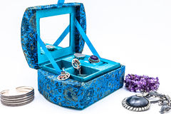 Blue jewel box Stock Images