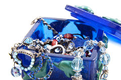 Blue jewel box with jewels Royalty Free Stock Image