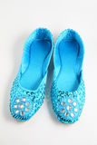 Blue jewelled flat shoes. Some gorgeous blue flat shoes stock images