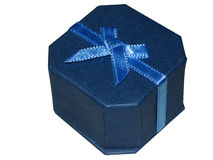 Blue jewellery gift box. With bow Stock Photography