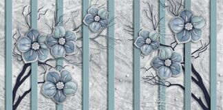 Free Blue Jewelry Flowers, Marble Background, Vertical Stripes. Royalty Free Stock Image - 190351476