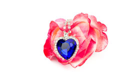 Blue jewelry heart hanging in red rose Royalty Free Stock Photo