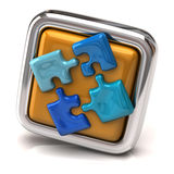 Blue jigsaw on orange button Stock Photo