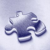 Blue jigsaw piece stock photography