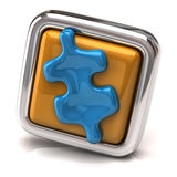 Blue jigsaw piece on orange button Stock Images