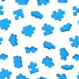 Blue Jigsaw pieces in different positions on white seamless pattern Royalty Free Stock Photo