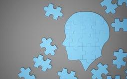 Blue jigsaw puzzle as a human brain. Creative idea concept. 3d. Illustration Stock Photo