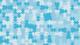 Blue jigsaw puzzle blank template, pattern texture background. 3d illustration Royalty Free Stock Images