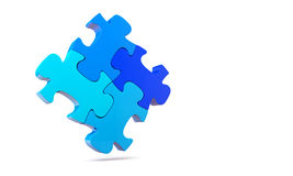 Blue jigsaw puzzle. Colorfull jigsaw puzzle, 3d render isolated on white Royalty Free Stock Image