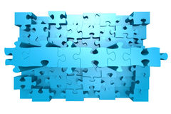 Blue jigsaw puzzle with 3D effect. Image with hi-res rendered artwork that could be used for any graphic design Stock Images