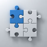 Blue jigsaw puzzle piece stand out from the crowd different concept on white wall background with shadow Stock Photo
