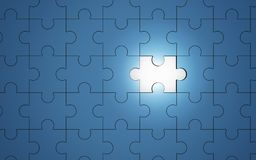 Blue jigsaw puzzle pieces with one piece glowing, 3d. Illustration Stock Photo