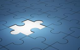 Blue jigsaw puzzle pieces with one piece glowing, 3d Royalty Free Stock Photo