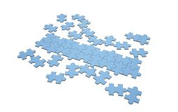 Blue jigsaw puzzles disrupted and separated with a row. For copy space on white, 3d illustration Royalty Free Stock Image