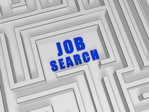 Blue job search in labyrinth Royalty Free Stock Images