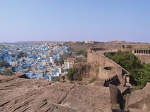 Blue Jodphur houses. Jodphur town view from red fort Royalty Free Stock Image