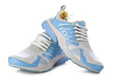 Blue jogging shoes Royalty Free Stock Images