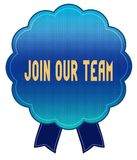 Blue JOIN OUR TEAM ribbon badge. Royalty Free Stock Image
