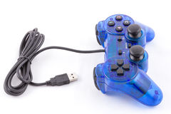 The blue joystick for controller play video game. The isolated of the blue joystick for controller and play video game on white background Royalty Free Stock Images
