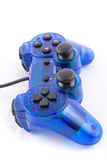 The blue joystick for controller play video game. The isolated of the blue joystick for controller and play video game on white background Stock Image