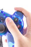 The blue joystick for controller play video game. The isolated of the blue joystick for controller and play video game on white background Royalty Free Stock Photos