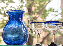 Blue Jug and Glasses Stock Images